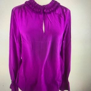J Crew Ruffle-neck Silk Top Bright Plum